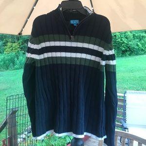 Boys 1/4 Zip Striped Sweater